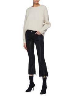 J BRAND Selena光泽感蕾丝裤脚口露踝喇叭裤
