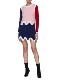 PH5 拼色波浪边美丽诺羊毛针织半裙