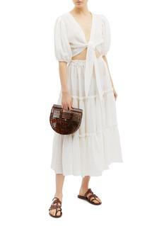 Lisa Marie Fernandez 系结泡泡袖深V薄纱短款上衣