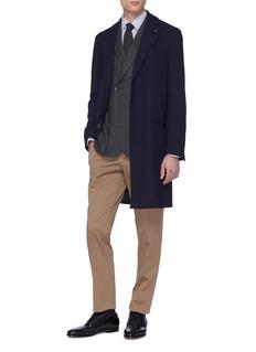 LARDINI 格纹双排扣混羊毛西服外套