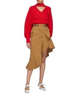 SELF-PORTRAIT 搭叠荷叶边不对称半裙