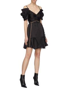 SELF-PORTRAIT 镂空细节露肩褶裥缎面连衣裙