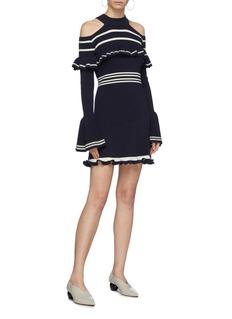 SELF-PORTRAIT 荷叶边条纹挖肩针织连衣裙