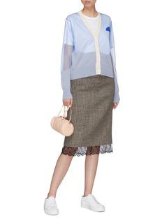 Anna Beam 拼接设计微透视针织外套