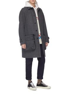 KOLOR x PORTER可拆式口袋混羊毛大衣