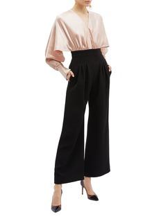 ROKSANDA Ellia仿两件式短款拼接绉绸连体裤