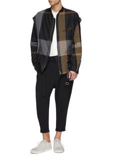 THE VIRIDI-ANNE 搭叠设计格纹苎麻夹克