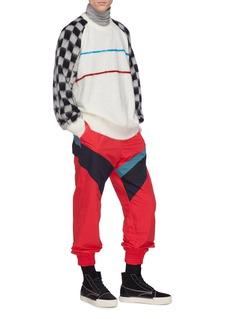 FACETASM 星星及格纹衣袖条纹混马海毛针织衫