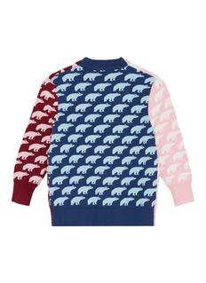PH5 儿童款中性款北极熊提花拼色针织外套