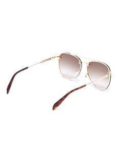 Alexander McQueen 铆钉点缀金属飞行员太阳眼镜