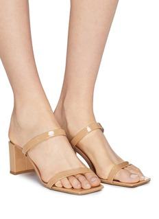 BY FAR Tanya漆皮几何粗跟凉鞋