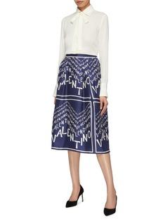 Valentino 品牌名称折纹真丝半裙