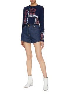 Valentino 品牌名称字母羊毛混羊绒针织衫