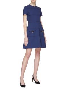 Valentino 金属V字缀饰条纹A字裙