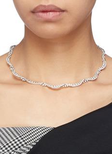 HEFANG 蝴蝶结方晶锆石纯银蕾丝项圈