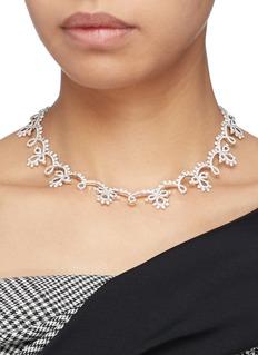 HEFANG 方晶锆石纯银古典蕾丝项链