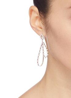 HEFANG 方晶锆石纯银羽毛蕾丝耳环