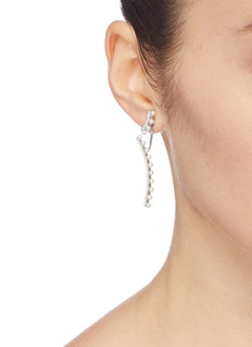 HEFANG 方晶锆石及淡水珍珠吊坠波纹耳环