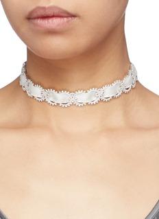 HEFANG 方晶锆石蕾丝织带项圈