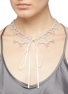 HEFANG 方晶锆石纯银宫廷蕾丝项链