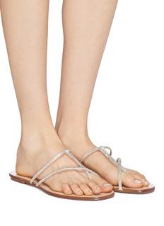 PEDRO GARCÍA Estee仿水晶缎面搭带平底拖鞋