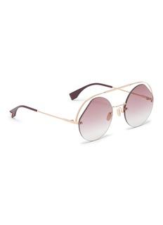 Fendi 切割镜片金属飞行员太阳眼镜