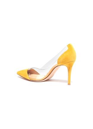 细节 - 点击放大 - GIANVITO ROSSI - Plexi PVC拼接绒面真皮高跟鞋