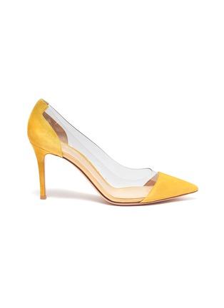 首图 - 点击放大 - GIANVITO ROSSI - Plexi PVC拼接绒面真皮高跟鞋