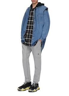 Balenciaga 牛仔马甲及格纹连帽衬衫两件套