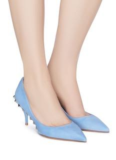 Valentino 铆钉点缀绒面真皮高跟鞋