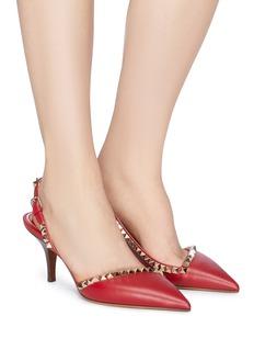 Valentino 铆钉点缀真皮露跟尖头鞋