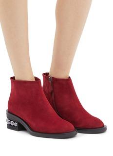 Nicholas Kirkwood Casati人造珍珠鞋跟绒面真皮短靴