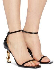 SAINT LAURENT Opyum 85品牌名称造型鞋跟漆皮搭带凉鞋