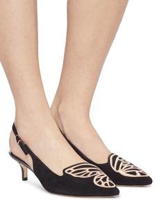 Sophia Webster Bibi Butterfly蝴蝶翅膀刺绣绒面真皮露跟鞋