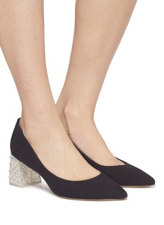 SOPHIA WEBSTER Amber仿水晶及人造珍珠粗跟绒面皮高跟鞋