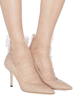模特儿示范图 - 点击放大 - Jimmy Choo - Lavish闪粉薄纱绒面真皮高跟鞋