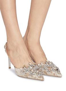 RENÉ CAOVILLA 仿水晶蕾丝尖头露跟鞋