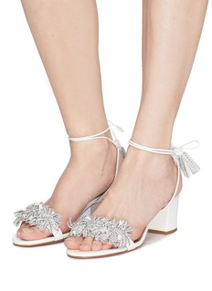 AQUAZZURA Wild Crystal仿水晶流苏真皮粗跟凉鞋