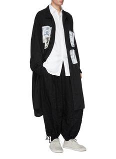 Yohji Yamamoto 须边线头印花布饰宽松大衣