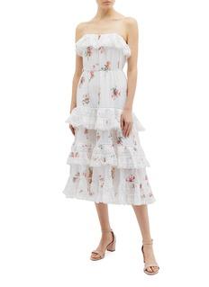 Zimmermann Heathers蕾丝荷叶边花卉吊带蛋糕裙