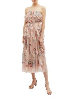 Zimmermann Bowie波点荷叶边花卉印花真丝抹胸裙