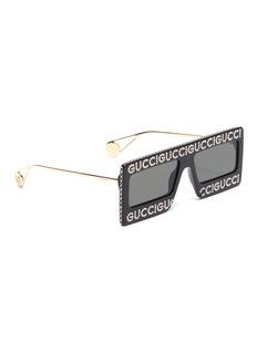 Gucci 仿水晶品牌名称板材方框太阳眼镜