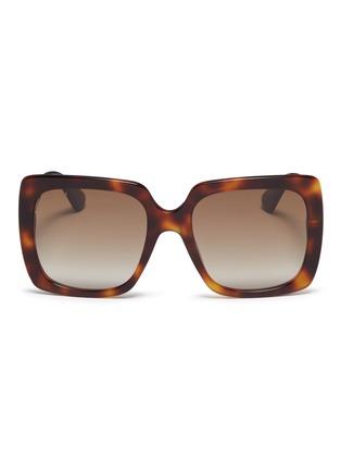 首图 - 点击放大 - Gucci - 仿水晶品牌名称琥珀方框太阳眼镜