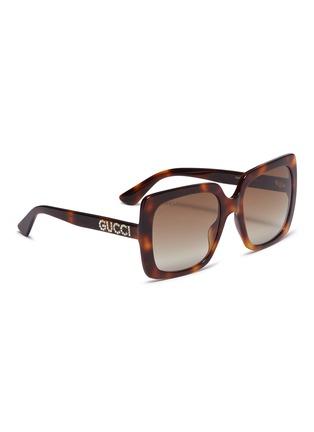 模特儿示范图 - 点击放大 - Gucci - 仿水晶品牌名称琥珀方框太阳眼镜