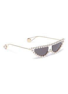 Gucci 人造珍珠猫眼金属框太阳眼镜