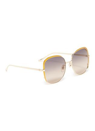 模特儿示范图 - 点击放大 - Gucci - 拼色围边金属方框太阳眼镜