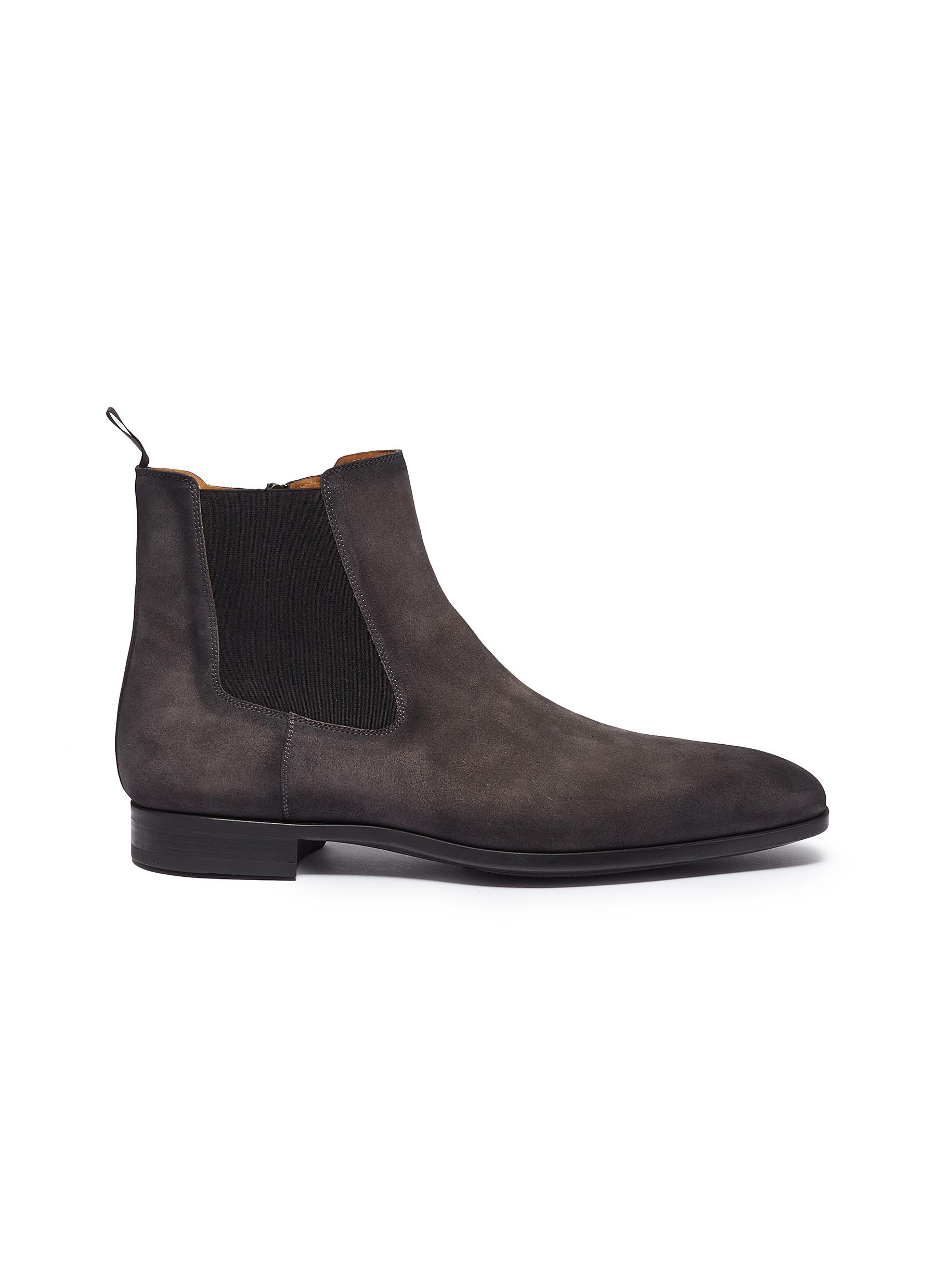 pretty cheap free delivery best service Magnanni Zip Suede Chelsea Boots In Taupe Grey | ModeSens