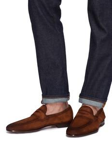 Magnanni 车缝线点缀绒面真皮乐福鞋