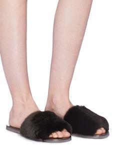 FABIO RUSCONI Rex獭兔毛搭带拖鞋