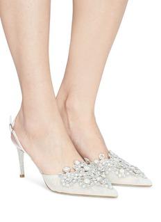 René Caovilla Veneziana仿宝石及仿水晶蕾丝尖头露跟鞋
